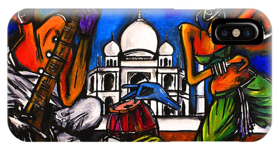 Artist Singh IPhone X Case featuring the painting Taj Mahal Dancers by Real ARTIST SINGH