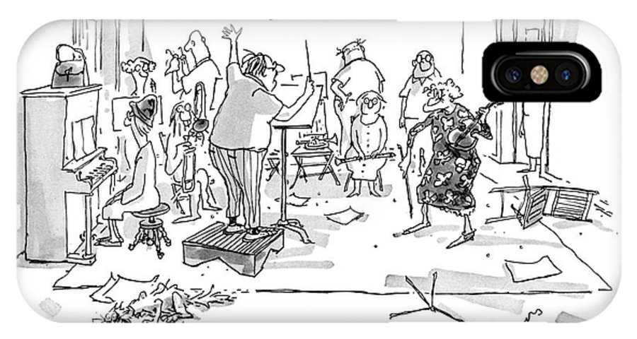74906 Gbo George Booth (orchestra Conductor In Shabby Apartment To Elderly Violinist.) Apartment Clarinet Clutter Conductor Elderly Entertainment Gather Gathering Group 'gypsy Instrument Messy Music Musical Orchestra Performance Piano Ragtag Shabby Sheet Singing Song Stands Violin Violinist Wand IPhone X Case featuring the drawing Take It From The Beginning. Act One. 'gypsy.' by George Booth
