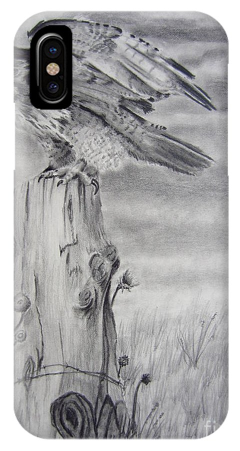 Hawk IPhone X Case featuring the drawing Taking Flight by Laurianna Taylor