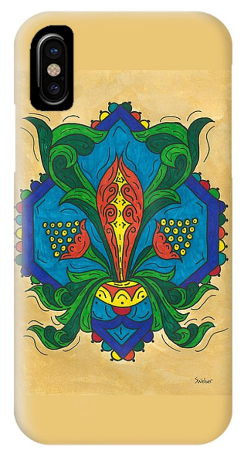 Flower IPhone X Case featuring the painting Talavera Flora by Susie WEBER
