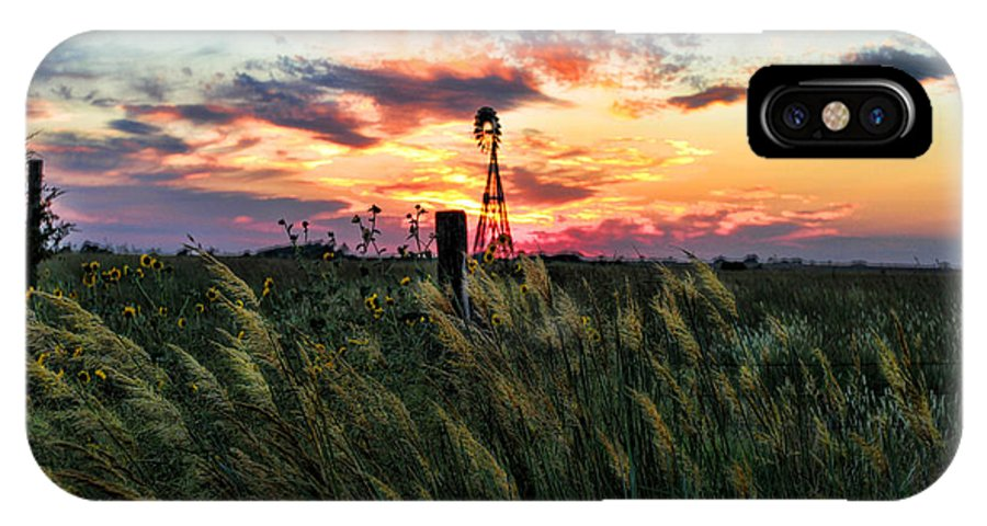 Kansas IPhone X / XS Case featuring the photograph Tall Grass Windmill by Chris Harris