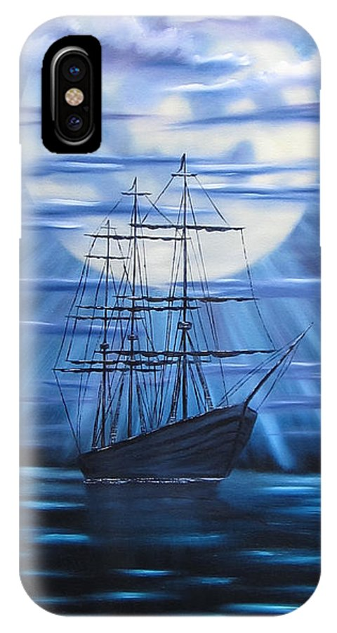 Tall Ship IPhone X Case featuring the painting Tall Ship By Moonlight by Alfred Knoll