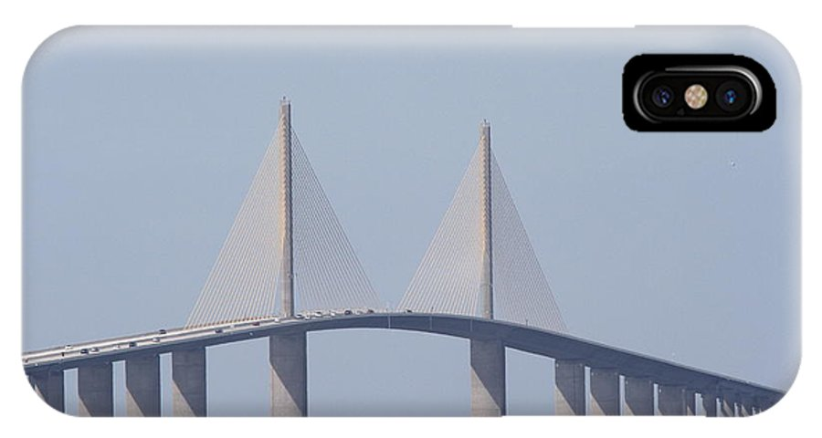Bridge IPhone X Case featuring the photograph Tampa Sky Way Bridge by Christiane Schulze Art And Photography
