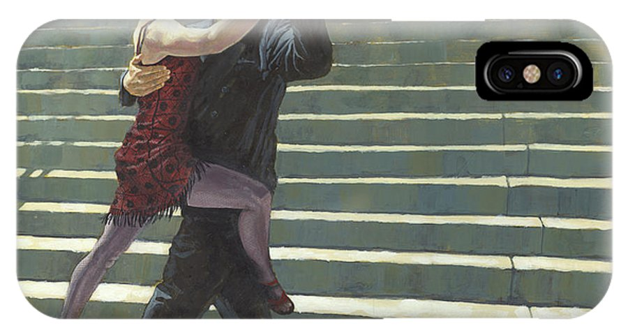 Dance IPhone X Case featuring the painting Tango On The Square by David Riley