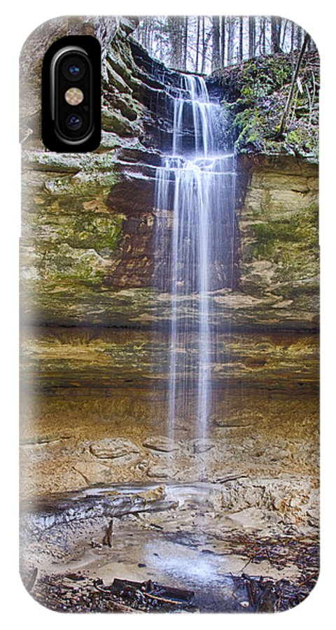 Waterfall IPhone X Case featuring the photograph Tannery Falls by Peg Runyan