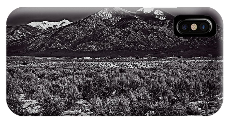 Santa IPhone X Case featuring the photograph Taos Mountain In Black And White by Charles Muhle