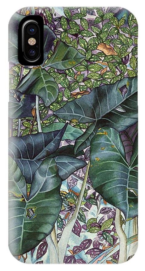 Hawaii IPhone X Case featuring the painting Taro Garden by DK Nagano