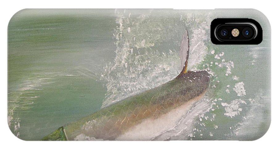 Tarpon Breaking Water IPhone X Case featuring the painting Tarpon Breaking Water by Tony Rodriguez
