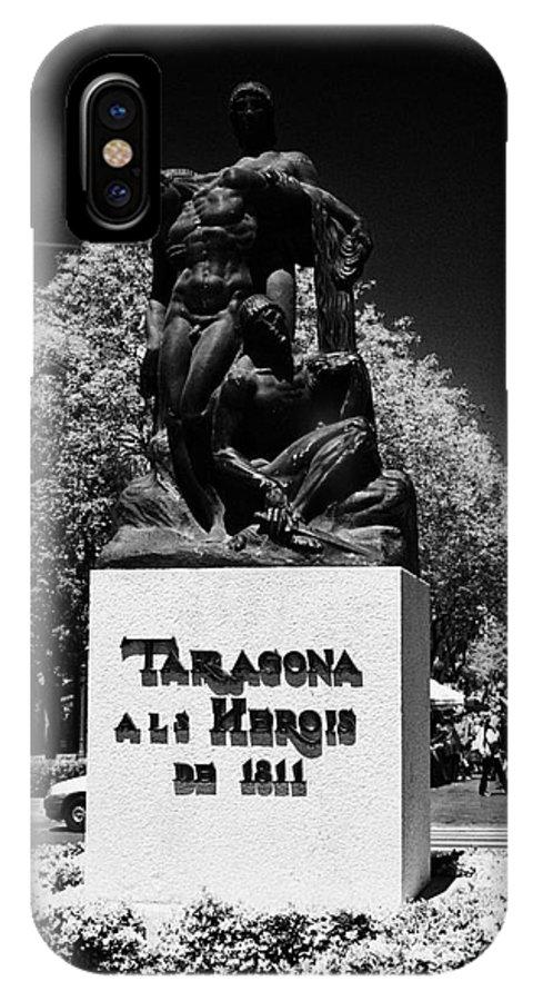 Rambla IPhone X Case featuring the photograph Tarragona Als Herois De 1811 Sculpture On Rambla Nova Avenue In Central Tarragona Catalonia Spain by Joe Fox
