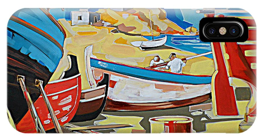 Boatyard Shipyard Greek Islands Landscape Seascape Prints IPhone X Case featuring the painting Tarsanas-boatyard by Yiannis Notaropoulos