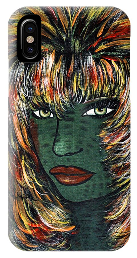 Woman IPhone X Case featuring the painting Tattoo by Natalie Holland