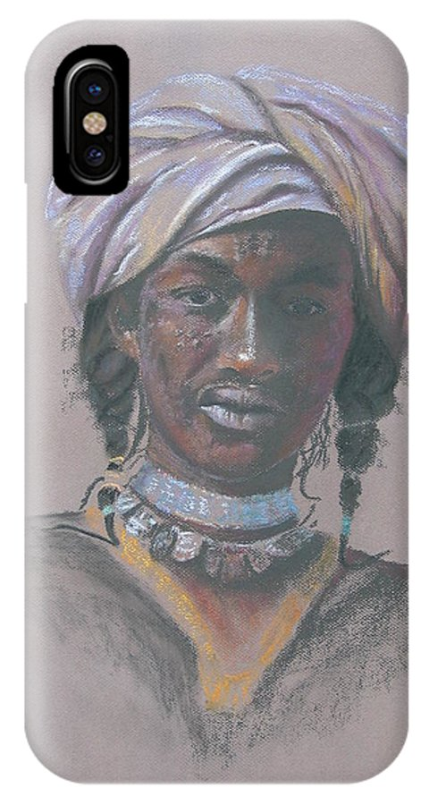 Portrait IPhone X Case featuring the painting Tchad Warrior by Maruska Lebrun