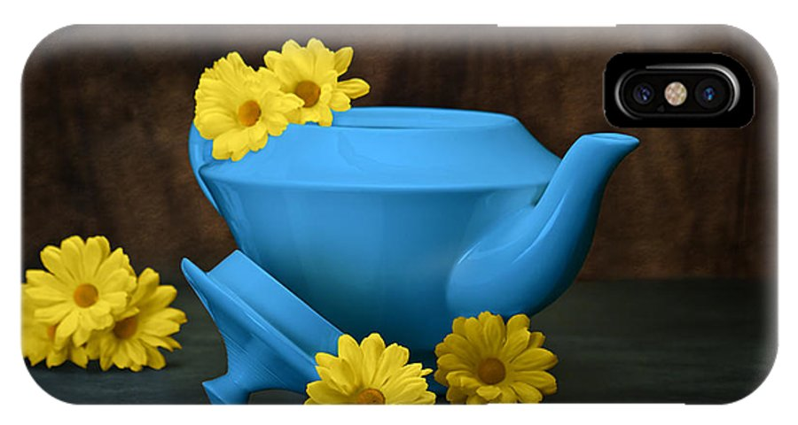 Art IPhone X Case featuring the photograph Tea Kettle With Daisies Still Life by Tom Mc Nemar