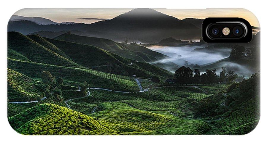 Tea Plantation IPhone X Case featuring the photograph Tea Plantation At Dawn by Dave Bowman