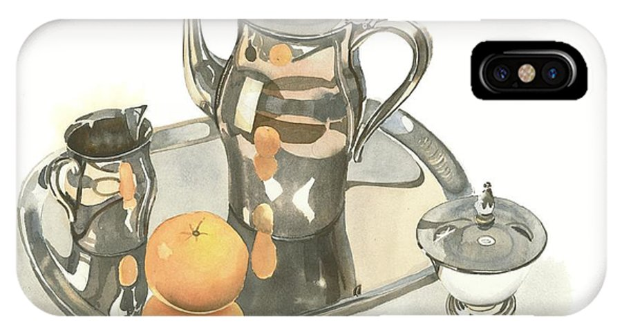 Tea Service With Orange IPhone X Case featuring the painting Tea Service with Orange by Kip DeVore