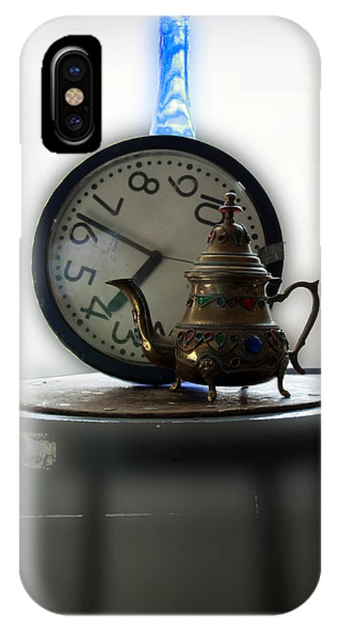 Clock IPhone X / XS Case featuring the photograph Tea Time by Barbara Giordano