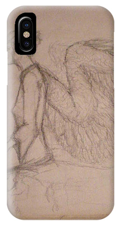 Angel IPhone X Case featuring the drawing Teacher by Steve Spagnola