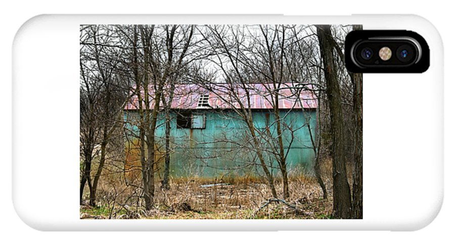 Barn IPhone X Case featuring the photograph Teal Barn by Laura Schramm-Behnke