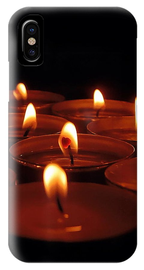 Tealight IPhone X Case featuring the photograph Tealights by Willy Nelson