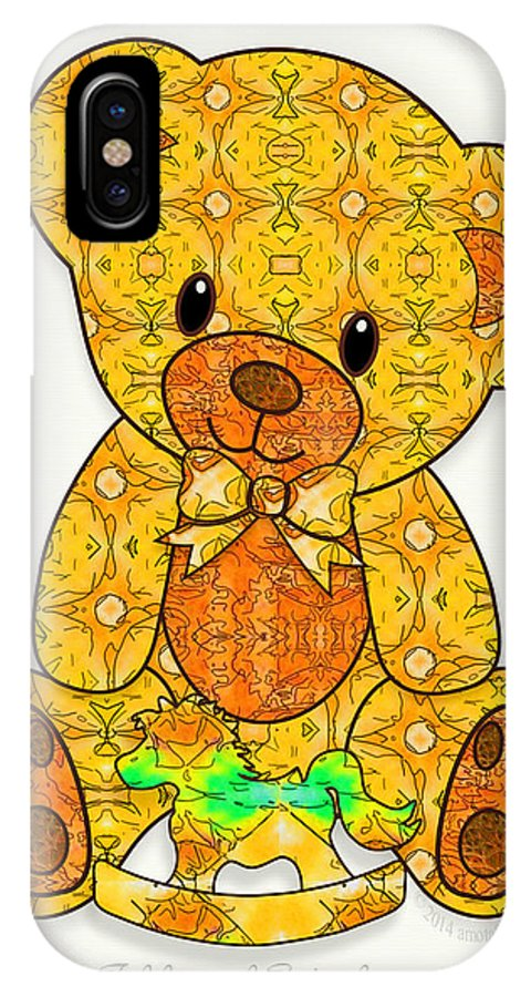 Teddy Bear IPhone X Case featuring the digital art Teddy And Friend by Gayle Odsather