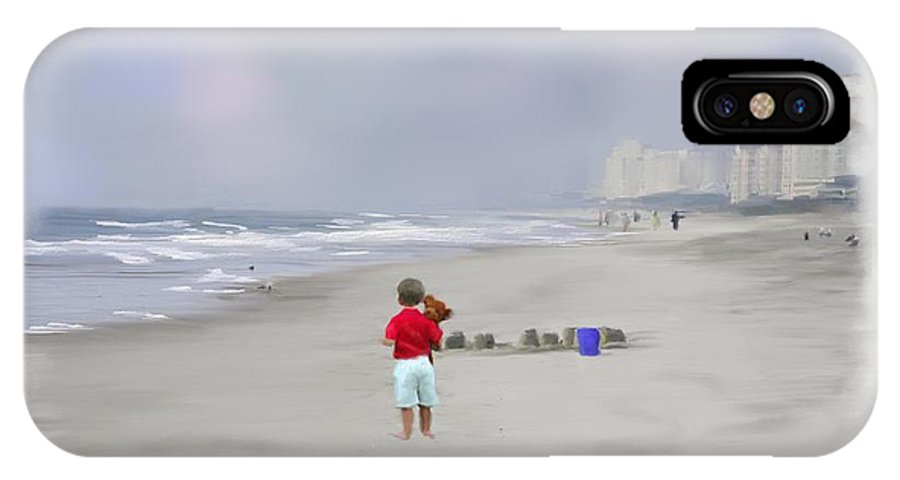 Teddy Bear IPhone X Case featuring the photograph Teddy Bear And Sand Castles by Mary Timman
