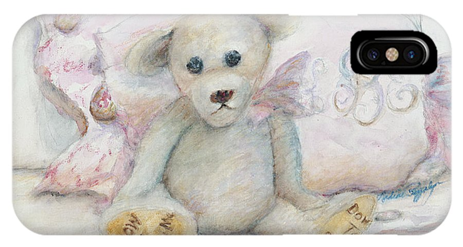 Teddy Bear IPhone X / XS Case featuring the painting Teddy Friend by Nadine Rippelmeyer