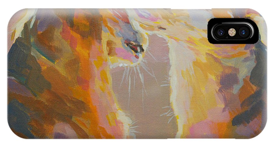Kitties IPhone X Case featuring the painting Telling Secrets by Kimberly Santini