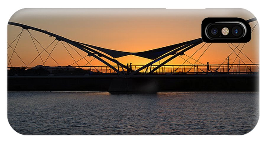 Arizona IPhone X Case featuring the photograph Tempe Bridge Sunset by Steve Wile