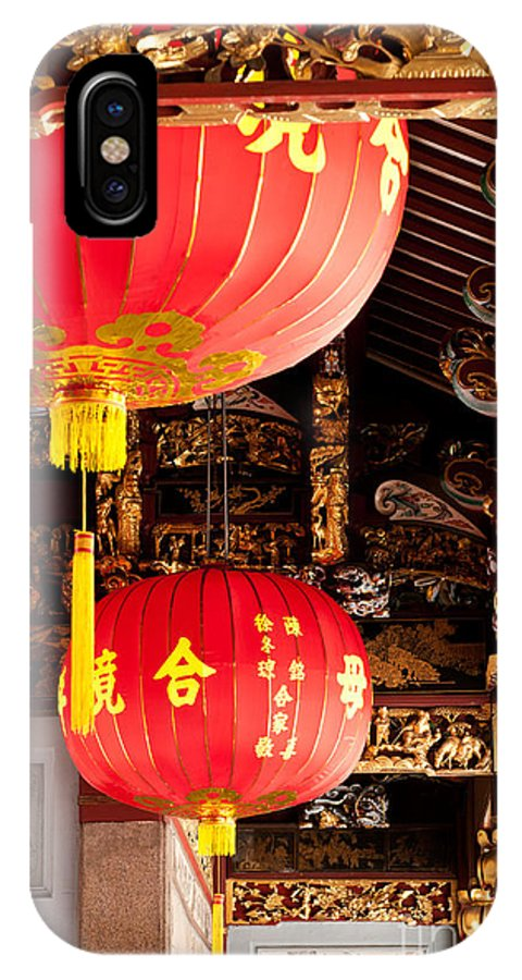 Red IPhone X Case featuring the photograph Temple Lanterns 02 by Rick Piper Photography