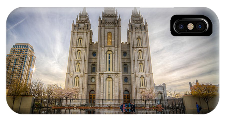 Lds IPhone X Case featuring the photograph Temple Square by Nick Cardona