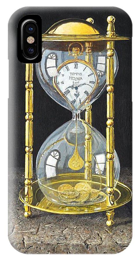 Still Life IPhone X Case featuring the painting Tempus Pecunia Est by Richard Harpum