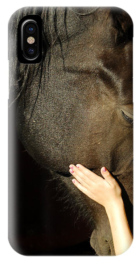 Horse IPhone X Case featuring the photograph Tenderness by Donna Blackhall