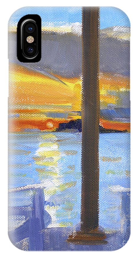 Terrace Sunset IPhone X Case featuring the painting Terrace Sunset by Candace Lovely