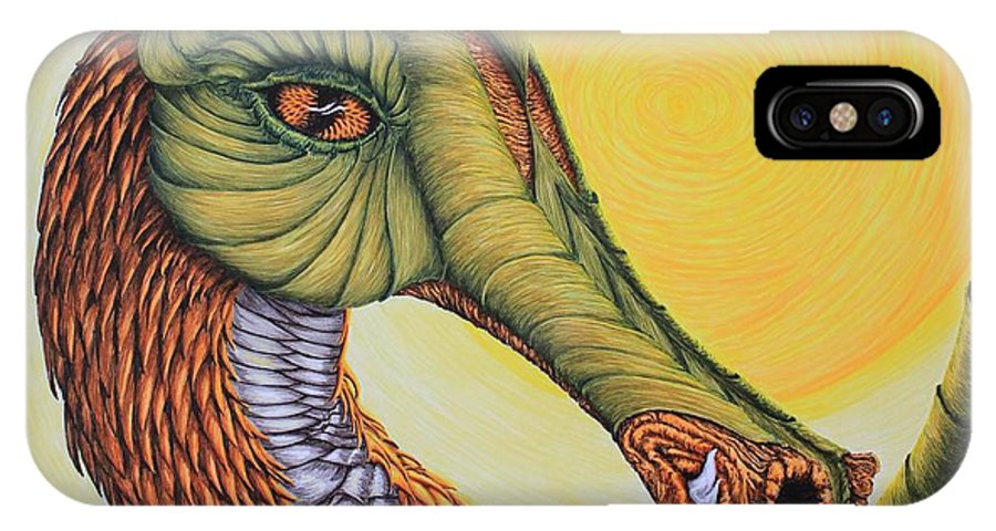 Dragon IPhone X Case featuring the drawing Terre Magique by Carol Frances Arthur