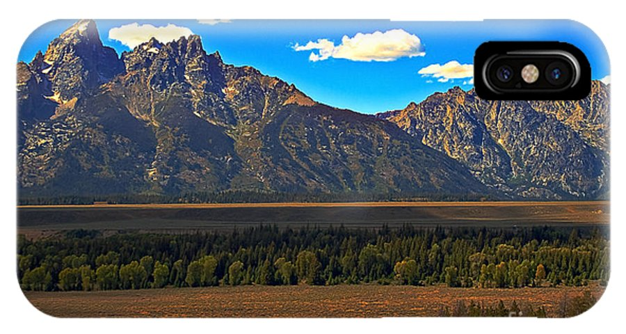 Sunrise IPhone X Case featuring the photograph Tetons Mountians by Robert Bales