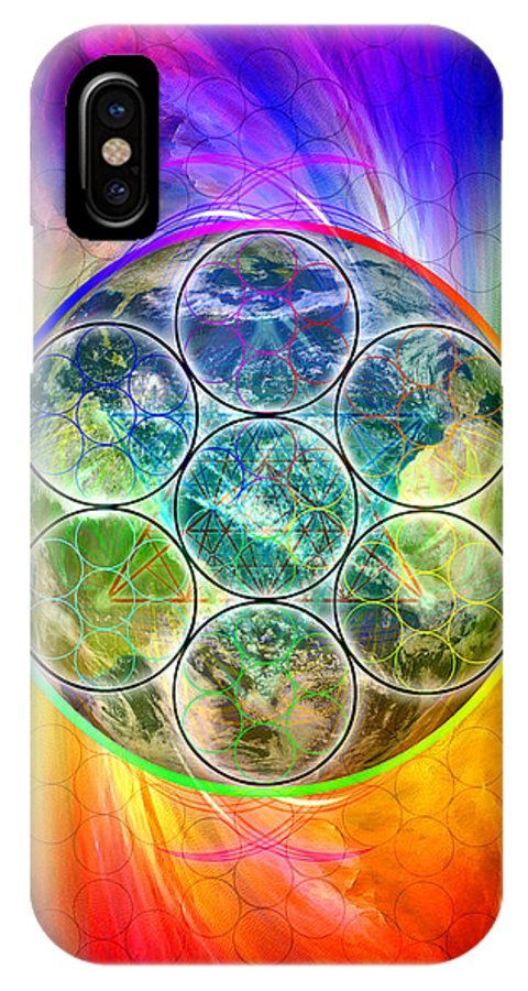 Tetra64 Polarity Earth IPhone X Case featuring the digital art Tetra64 Polarity Earth by Derek Gedney