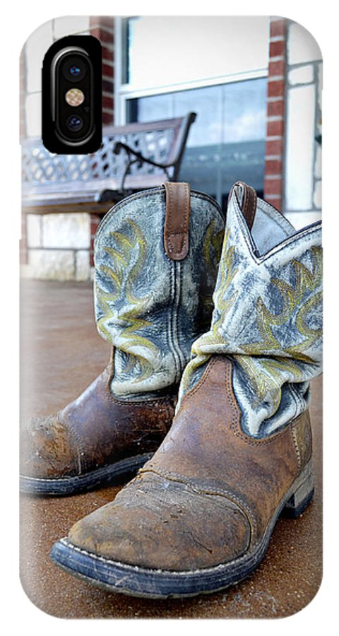 Texas IPhone X Case featuring the photograph Texan Cowboy Boots by Richelle Munzon