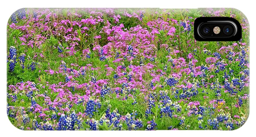 Texas IPhone X Case featuring the photograph Texas Bluebonnets And Wildflowers by Marilyn Burton