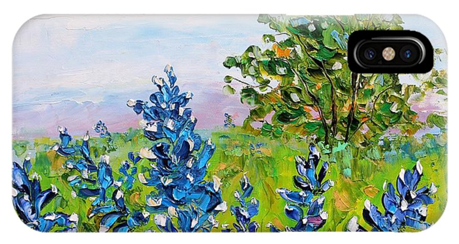 Tags: Iris Paintings Paintings IPhone X Case featuring the painting Texas Bluebonnets by Karen Tarlton