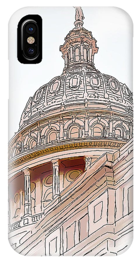 Architecture IPhone X Case featuring the photograph Texas Capitol Sketch by David and Carol Kelly