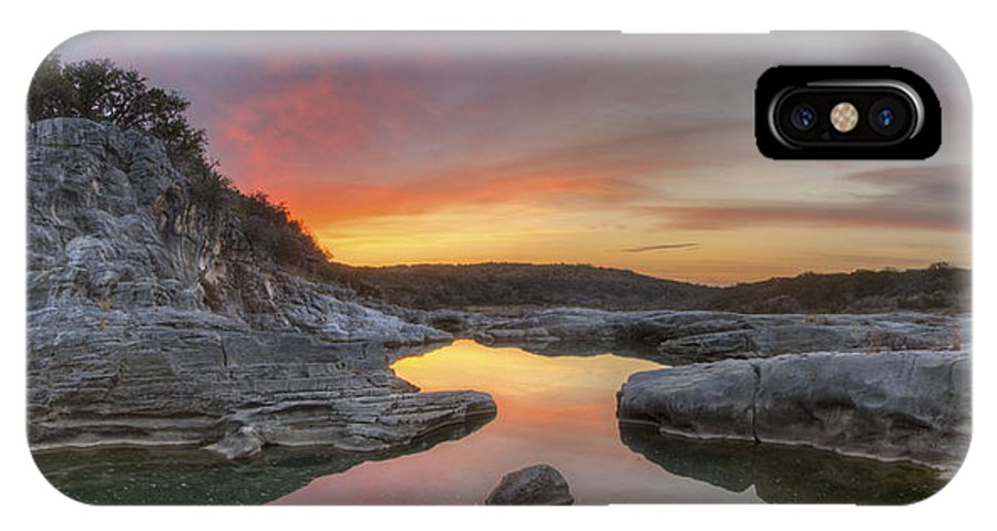 Texas Hill Country Images IPhone X Case featuring the photograph Texas Hill Country Images - Pedernales Falls February Sunrise 3 by Rob Greebon