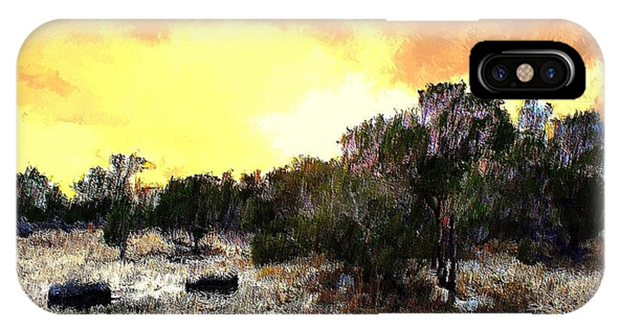 Landscape IPhone X Case featuring the mixed media Texas Hill Country by Terence Morrissey