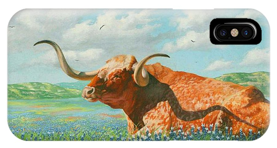 Long Horn Painting IPhone X Case featuring the painting Texas by Howard Dubois