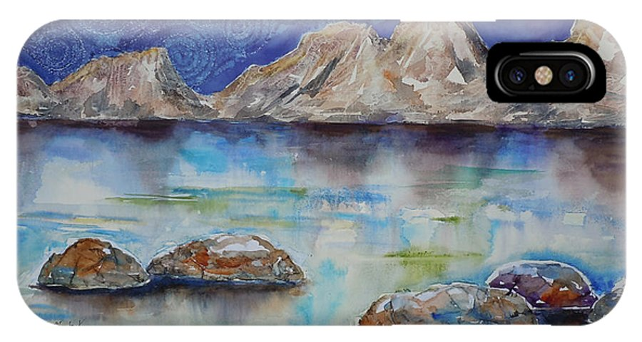 Landscape IPhone X Case featuring the painting Textured Lakescape by Renee Chastant
