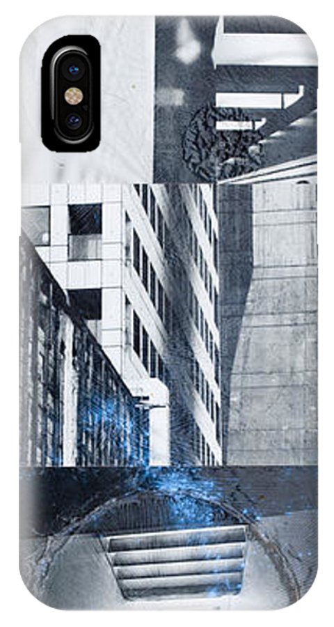 Black And White IPhone X Case featuring the mixed media Textures Of The City by Pola Oginski