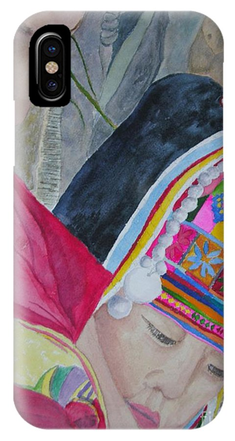 Baby IPhone X Case featuring the painting Thai Hill Tribe by Peggy Dickerson