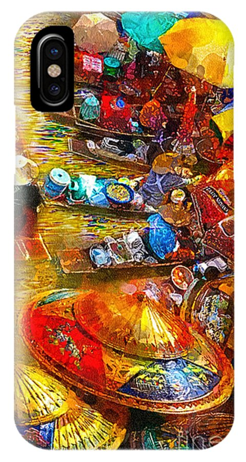 Thai Market Day IPhone X Case featuring the painting Thai Market Day by Mo T