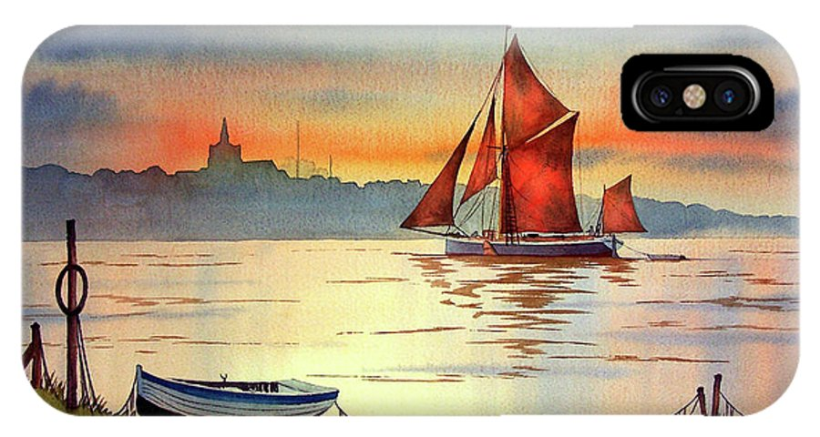 Thames Barge IPhone X Case featuring the painting Thames Barge At Maldon Essex by Bill Holkham