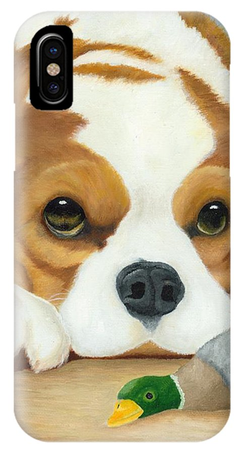 Original IPhone X Case featuring the painting That's My Duck by Barbara Jorgensen