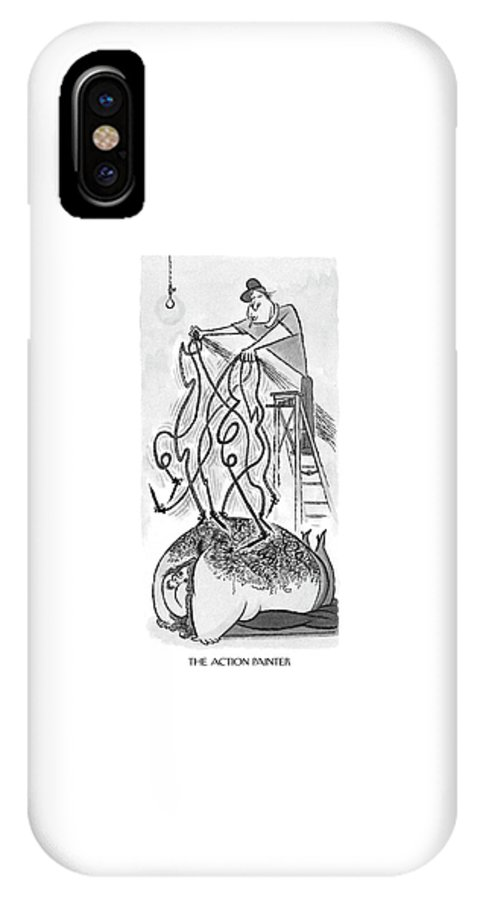 118999 Aro Arnold Roth The Action Painter   (tattoo Artist's.) Art Artist Artistic Artwork Canvas Design Designs Humanities Ink Inking Permanent Tattooing Tattoos IPhone X Case featuring the drawing The Action Painter by Arnold Roth
